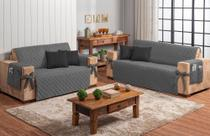 Conjunto jogo protetor de sofá 2 e 3 lugares cinza com 4 almofadas preto - Brucebaby Bordados
