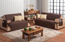 Conjunto jogo protetor de sofá 2 e 3 lugares marrom com 4 almofadas silicone bege - Brucebaby Bordados