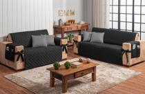 Conjunto jogo protetor de sofá 2 e 3 lugares preto com 4 capas de almofada cinza - Brucebaby Bordados
