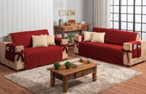 Conjunto jogo protetor de sofá 2 e 3 lugares vermelho com 4 capas de almofada bege - Brucebaby Bordados