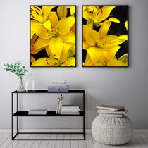 Conjunto Kit 2 Quadros 67x100cm Coleção Luxo Flor Amarela  Moldura Preta - Oppen House Decora -