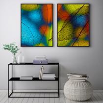 Conjunto Kit 2 Quadros 67x100cm Coleção Luxo Folha de Vidro  Moldura Preta - Oppen House Decora -