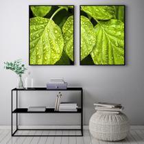 Conjunto Kit 2 Quadros 67x100cm Coleção Luxo Folhas na Chuva  Moldura Preta - Oppen House Decora -