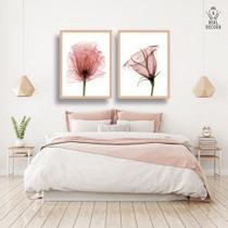 Conjunto kit 2 quadros decorativos quarto flores rose romantico - Real Decora