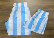 conjunto kit 2 shorts bermudinha de casal estampada listrada moda verão praia piscina férias presente namoro namorados - Mayamoda