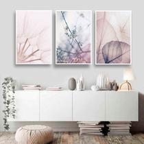 Conjunto kit 3 quadros decorativos quarto sala tons pastéis florescer - REAL DECORA