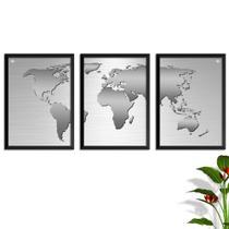 Conjunto Kit 3 Quadros Mapa Mundi Silver Prata Escovado Moldura e Vidro - Oppen house
