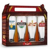 Conjunto Kit 4 Copos De Cerveja Frases Sátiras Beer - Brasfoot