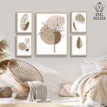 Conjunto kit 5 quadros decorativos bege e marrom plantas costa do marfim - REAL DECORA
