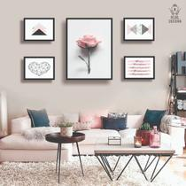 Conjunto kit 5 quadros decorativos feminino floral geometrico quarto sala - REAL DECORA