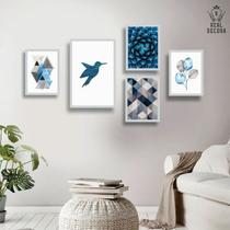 Conjunto kit 5 quadros decorativos geometrico azul beija flor sala quarto - REAL DECORA