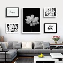 Conjunto kit 5 quadros decorativos preto e branco frases floral quarto sala - REAL DECORA