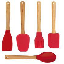 Conjunto Kit 5 utensílios para cozinhar em bambu e silicone - MOR