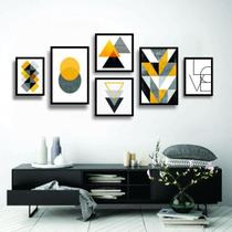 Conjunto kit 6 quadros decorativos amarelo cinza e preto geométrico home yellow - Real Decora