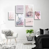 Conjunto kit 6 quadros decorativos frases floral tons pasteis quarto sala namastê - Real Decora