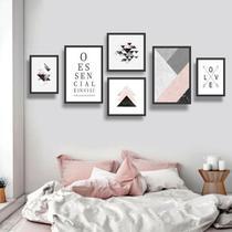 Conjunto kit 6 quadros decorativos rosa e cinza geométrico quarto sala essencial - Real Decora