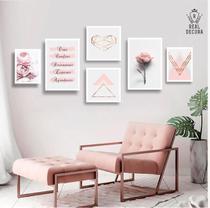 Conjunto kit 6 quadros decorativos rose feminino floral quarto sala - Real Decora