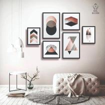 Conjunto kit 6 quadros decorativos rose gold geometrico texturizado sala quarto - Real Decora