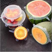 Conjunto Kit 6 Tampa De Panela Potes Fruta Silicone Protetor Alimentos Geladeira Reutilizável Elástica Forma -