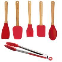 Conjunto Kit 6 utensílios para cozinhar em bambu e silicone - MOR
