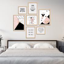 Conjunto kit 7 quadros escandinavo Hoder com frases moldura madeira crua - Oppen House Quadros Decorativos -