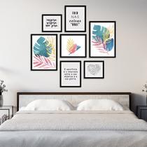 Conjunto Kit 7 Quadros Folhagem Folhas Aquarela Com Frases Moldura Preta - Oppen House Quadros Decorativos -
