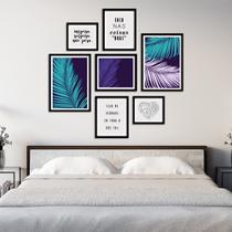 Conjunto Kit 7 Quadros Folhagem Folhas Azul e Lilás Com Frases Moldura Preta - Oppen House Quadros Decorativos -