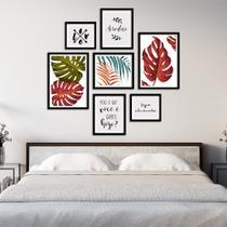 Conjunto Kit 7 Quadros Folhagem Folhas Coloridas Com Frases Moldura Preta - Oppen House Quadros Decorativos -