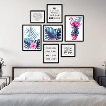 Conjunto Kit 7 Quadros Folhagem Folhas Com Flamingo Com Frases Moldura Preta - Oppen House Quadros Decorativos -