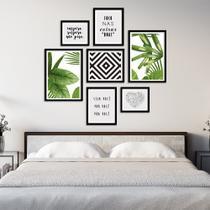 Conjunto Kit 7 Quadros Folhagem Folhas Com Triângulos Com Frases Moldura Preta - Oppen House Quadros Decorativos -