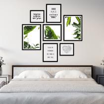 Conjunto Kit 7 Quadros Folhagem Folhas De Bananeira Com Frases Moldura Preta - Oppen House Quadros Decorativos -