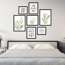 Conjunto Kit 7 Quadros Folhagem Folhas Verde Claro Com Frases Moldura Preta - Oppen House Quadros Decorativos -