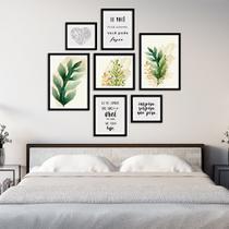 Conjunto Kit 7 Quadros Folhagem Folhas Verde e Laranja Com Frases Moldura Preta - Oppen House Quadros Decorativos -