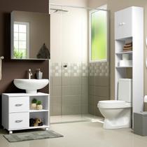 Conjunto kit de Banheiro com Gabinete e Armário Multimóveis Branco -
