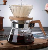 Conjunto Kit Jarra + Passador de Café em Vidro Borossilicato e Madeira Premium - Ilovecoffee