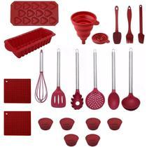 Conjunto Kit Jogo De Colheres Silicone 20 Peças Utensílios Cozinha Forma Bolo - Yazi
