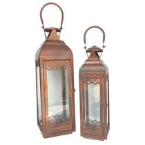 Conjunto Lanternas Marroquinas Rustica Metal Cor Cobre - Ef