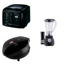 Conjunto Liquidificador, Máquina de Cupcake e Fritadeira 127V Britânia Preto -