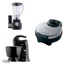 Conjunto Liquidificador, Máquina de Waffle e Batedeira 127V Britânia Preto -