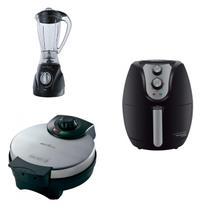 Conjunto Liquidificador, Máquina de Waffle e Fritadeira 127V Britânia Preto -
