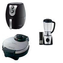 Conjunto Liquidificador, Máquina de Waffle e Fritadeira 127V MadeiraMadeira 421121 Preto - Britânia
