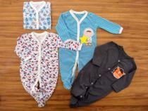 Conjunto Macacão Manga Longa 4 Peças Saída de Maternidade Pijama Meninos - Baby Bird