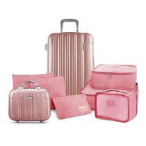 Conjunto Mala e Frasqueira de Viagem Trip Rose com Kit Organizador de Malas de 6 Peças Jacki Design -
