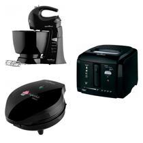 Conjunto Máquina de Cupcake, Fritadeira e Batedeira 127V Britânia Preto -