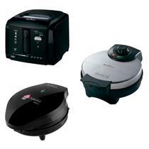 Conjunto Máquina de Cupcake, Máquina de Waffle e Fritadeira 127V Britânia Preto -