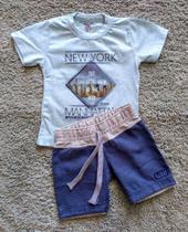 Conjunto masculino camiseta york manhattan e bermuda jeans alekids tam m azul claro/azul jeans -