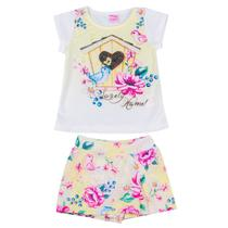 Conjunto Menina Infantil e Juvenil Crepe Blusa Estampa Pássaros com Strass e Shorts Saia. - For Girl