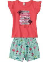 Conjunto Menina Marisol Play Flamingo Goiaba -