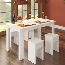 Conjunto Mesa 135cm com 4 Banquetas Branco - Casatema