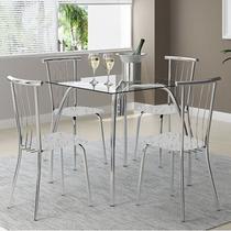 Conjunto Mesa 1502 Vidro Incolor Cromada com 4 Cadeiras 154 Fantasia Branco Carraro -